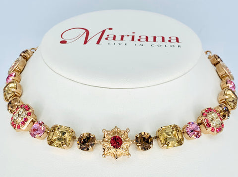 Mariana  Fancy Necklace in Gingerbread on Rose Gold