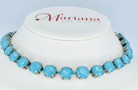 Mariana 11mm Necklace in Robin's Egg Crystals on Silver