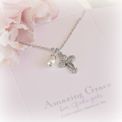 Pearl and Cross Rhodium Necklace