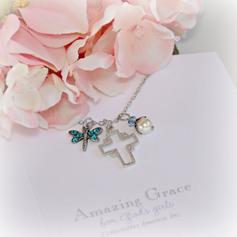 Rhodium Cross and Dragonfly Necklace