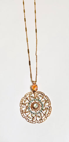 Mariana Long Pendant in Sweet Pea on Rose Gold