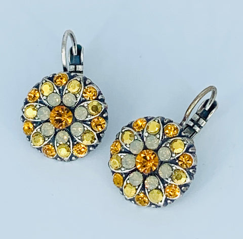 Mariana Amber Earrings on Silver Medium