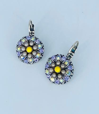 Mariana Green Pearl/ Lavender With Yellow Earrings on Silver Medium