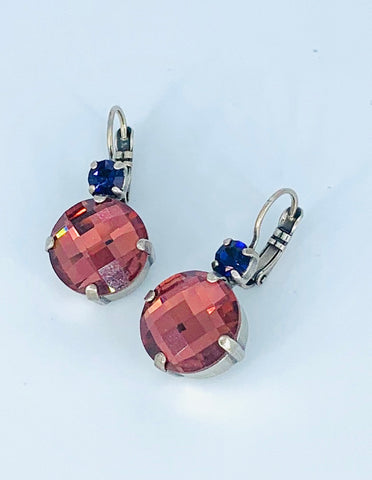 Mariana Large Earrings Faceted Pink on Silver