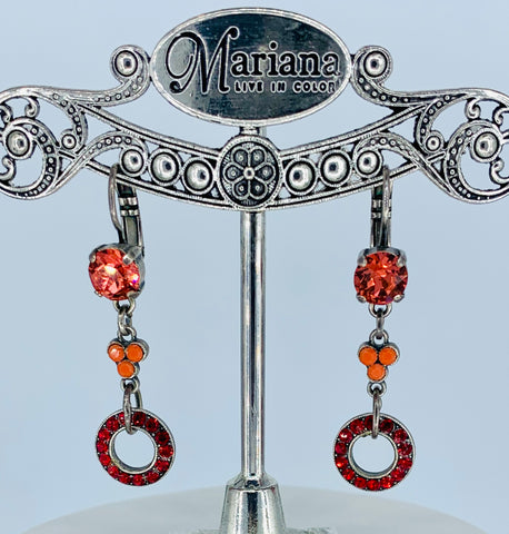 Mariana Earrings in Coral/Red on Silver