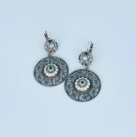 Mariana Circle Filigree Earrings in Zulu on Silver