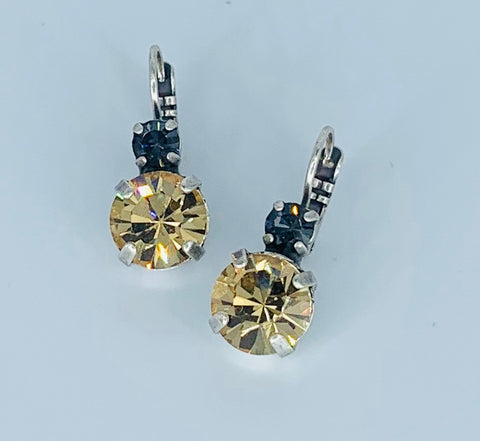 Mariana Earrings Double Drop in Grey/Light Amber on Silver