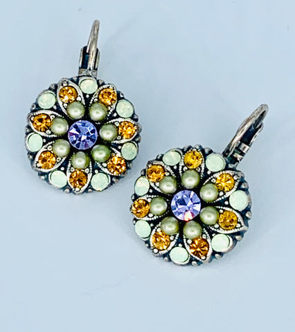 Mariana Yellow/Green/Lavender Earrings on Silver Medium