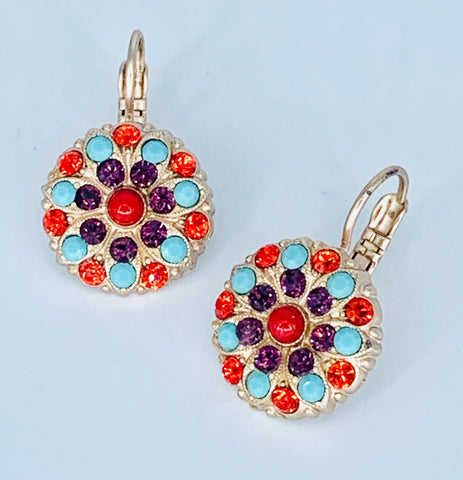 Mariana Coral/Turquoise Earring on Rose Gold Medium