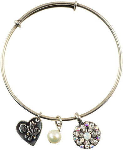 Mariana Guardian Angel Bangle in Clear/Pearl on Silver