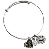Mariana Guardian Angel Bangle in Clear on Silver
