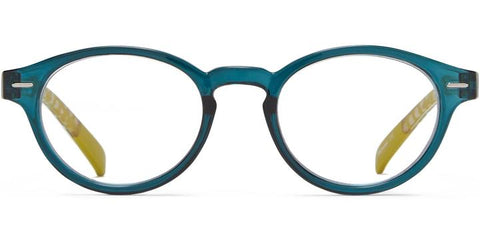 1.25 Teal Yellow Dot Temple Readers