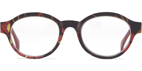 1.25 Black  with Floral Temples Readers