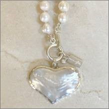Pearl Necklace with Mother of Pearl Heart Bauble