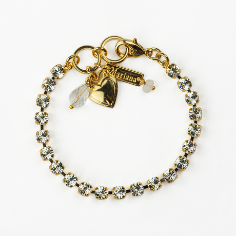 Mariana Tiny Plain Bracelet in Icy Clear on  Gold
