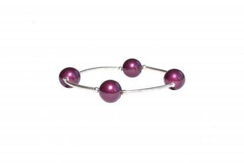 Blessing Bracelet in Cranberry Pearl and Sterling Silver