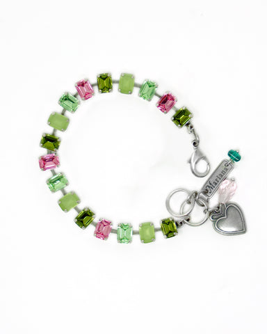 Mariana Small Chiclet Bracelet Candy Apple on Silver
