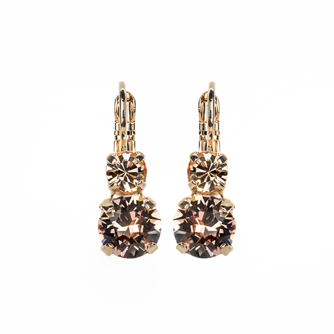 Mariana Small Double Drop Earrings in Meadow Brown on Rose Gold