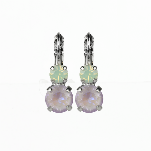 Mariana Small Double Drop Earrings in Travelara on Rhodium
