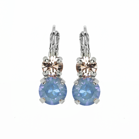 Mariana Small Double Drop Earrings in Blue Morpho on Rhodium