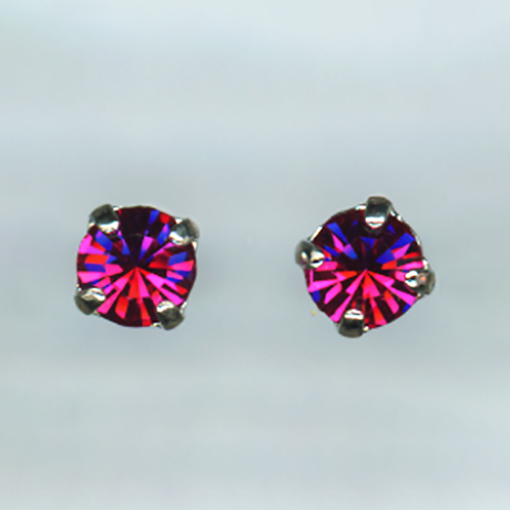 Mariana Tiny Stud Fuchsia on Silver