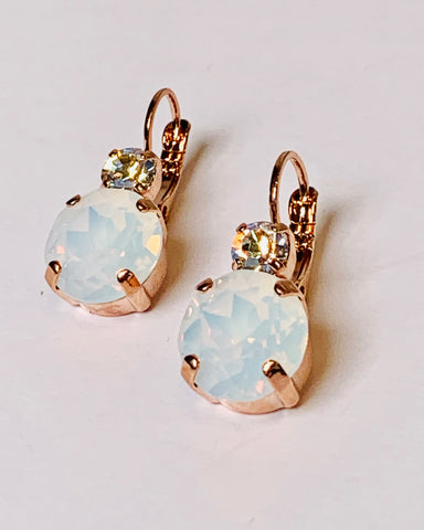 Mariana Earrings Double Drop in Milky White/Clear AB on Rose Gold