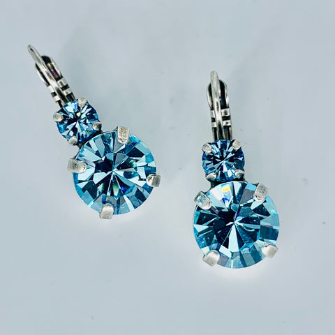 Mariana Earrings Double Drop in Light  Blue on Silver
