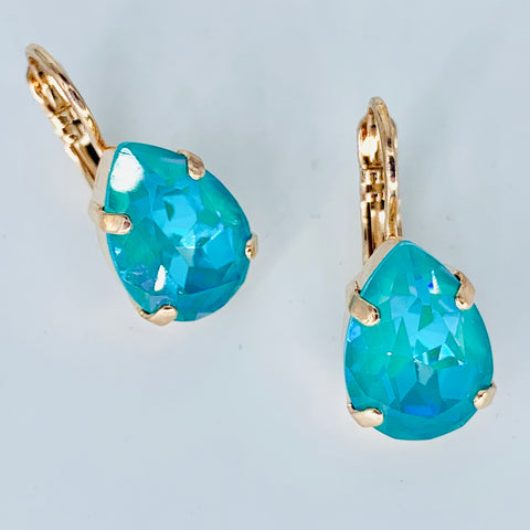 Mariana Earrings Teardrop in Laguna on Rose Gold