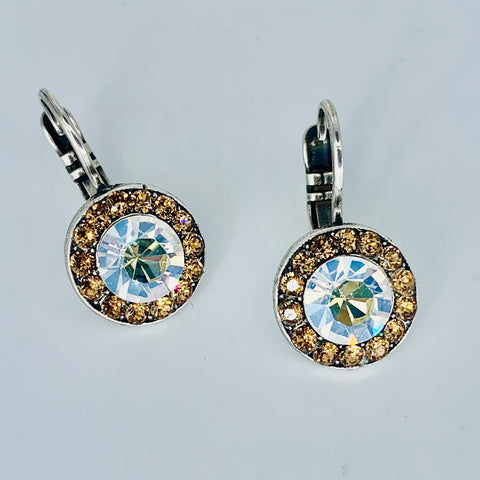 Mariana Earrings in Champagne and Caviar on Silver