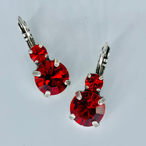 Mariana Double Drop Earrings in Bright Red on Silver