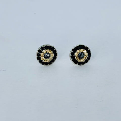 Mariana Small Post Earrings in Black Orchid on Rhodium