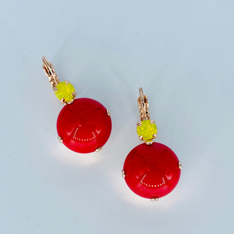 Mariana Large Earrings Football on Rose Gold