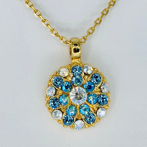 Mariana Guardian Angel Necklace in Ice Blue on Yellow Gold