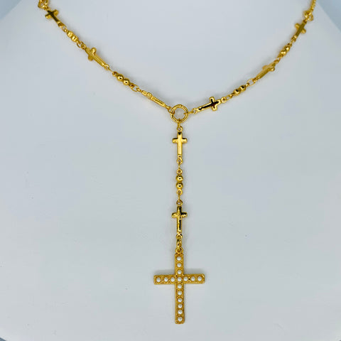 Mariana Rosary/Cross Necklace Pearl on Gold