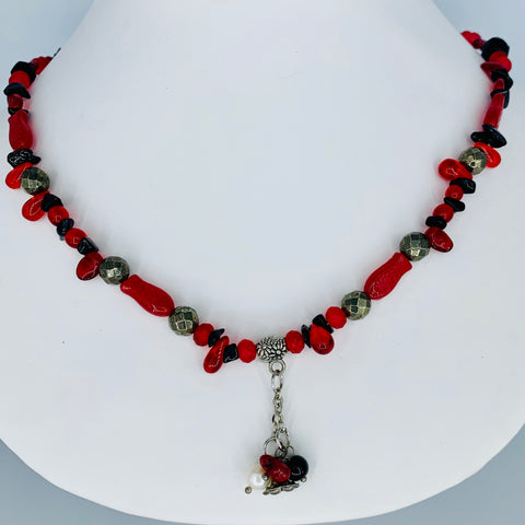 Red and Black Glass Beads With Sterling and Pearl Tassle
