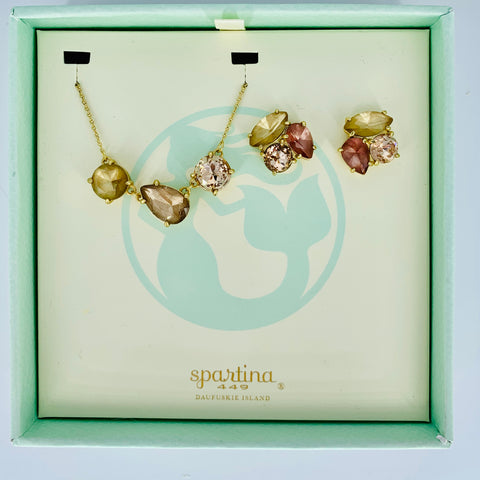 Spartina Necklace and Earring Set Gold/Amber