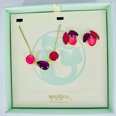 Spartina Necklace and Earring Set Pink/Purple