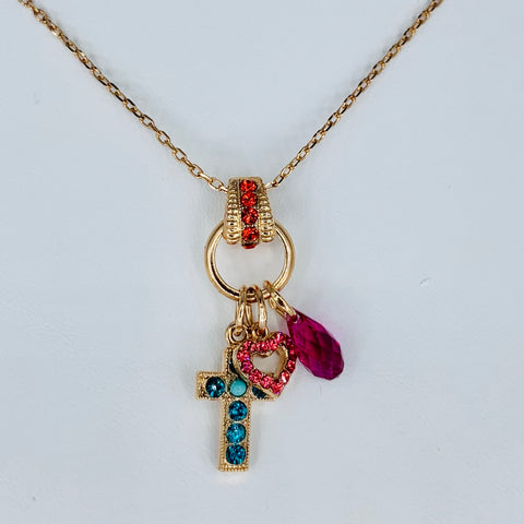 Mariana  Cross Necklace in Poppy on Rose Gold