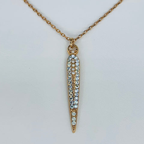 Teardrop Pendant  Clear/White on Rose Gold
