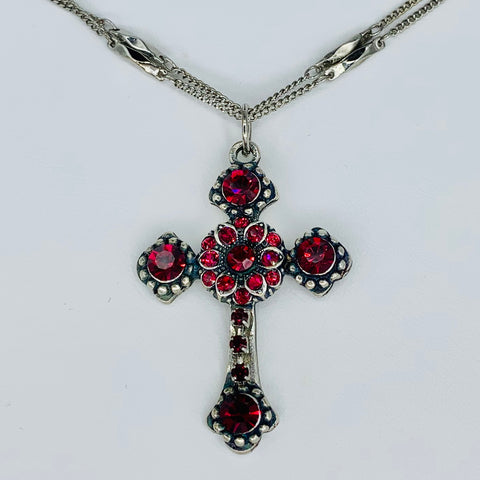Mariana Cross Necklace Reds on Silver