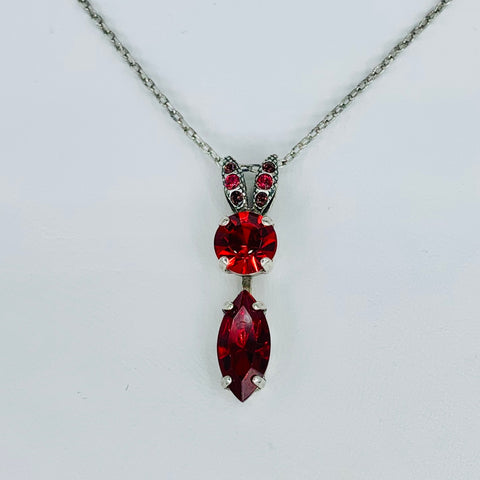 Mariana Teardrop Pendant Reds on Silver