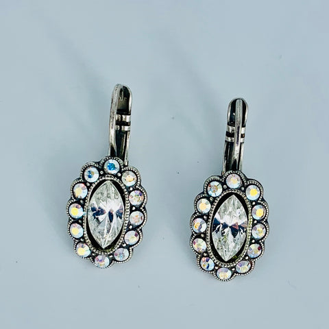 Mariana Earrings Oval Clear on Silver