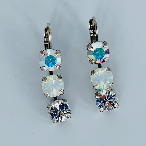Mariana Earring Triple Drop Clear on Silver