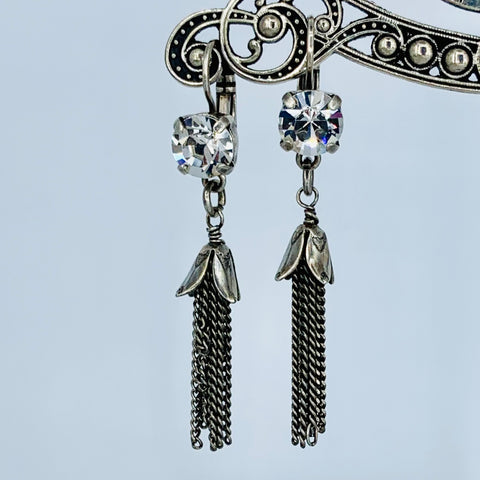 Mariana Earring Clear Over Silver Tassle