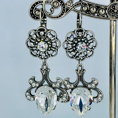 Mariana Fancy Teardrop  Earrings in Clear on Silver