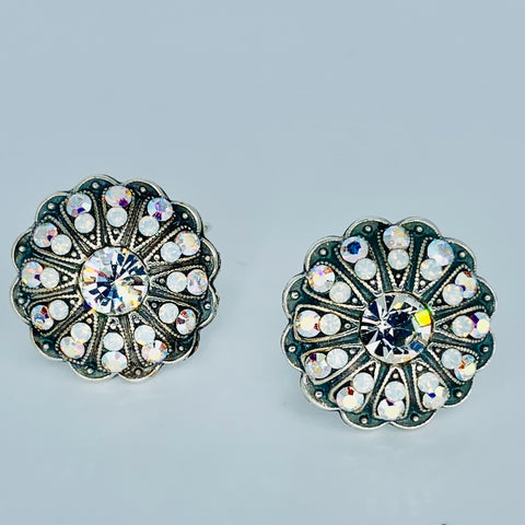 Mariana Button Earrings Clear on Silver