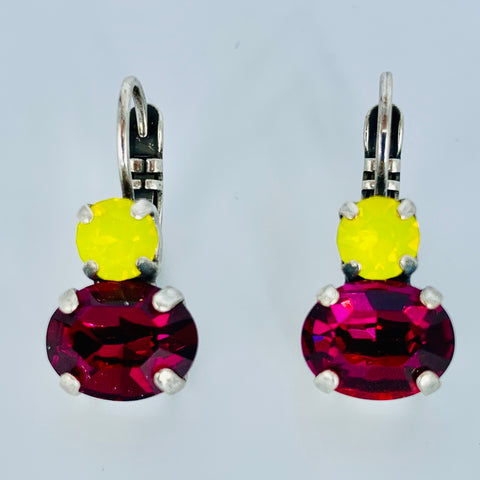 Mariana Double Drop Oval Earrings in Pink/Yellow on Silver