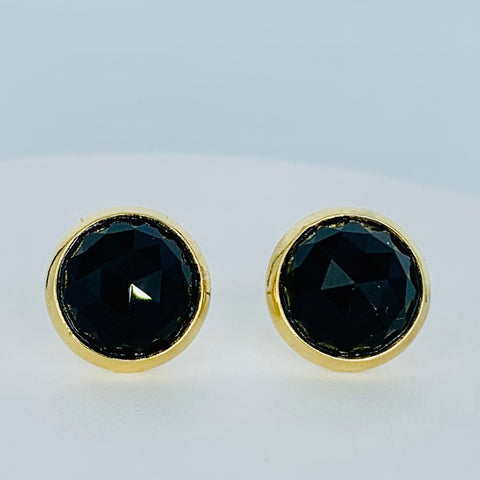 Mariana Mineral Post Earrings Black on Gold