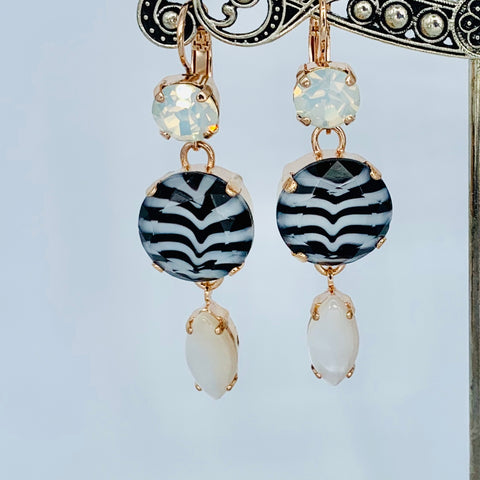 Mariana Earring Triple Drop Black/White on Rose Gold
