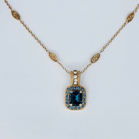 Mariana Emerald Cut Pendant in Mood Indigo on Rose Gold